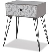 vidaXL Yöpöytä 1 laatikolla ja koristekuviolla suorakaide harmaa
