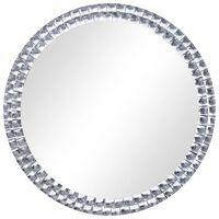 vidaXL Seinäpeili pyöreä hopea 70 cm karkaistu lasi