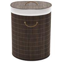 vidaXL Bambu pyykkikori ovaali tummanruskea