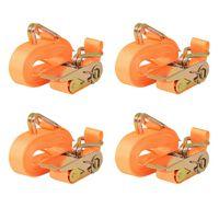 vidaXL Räikkä kuormaliinat 4 kpl 0,4 tonnia 6mx25mm Oranssi