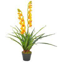 vidaXL Tekokukka ruukulla orkidea keltainen 90 cm