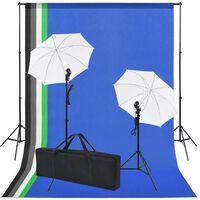 vidaXL Valokuvastudiosetti 5 värillistä taustaa & 2 varjoa