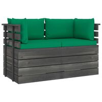 vidaXL Garden 2-Seater Pallet Sofa with Cushions Solid Pinewood (2x315419+2x315069)