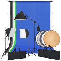 vidaXL Valokuvastudiosetti softbox-valot, taustakankaat ja heijastimet