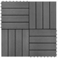 vidaXL Lattialaatat 11 kpl puumuovikomposiitti 30x30 cm 1 m² harmaa