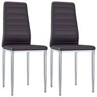 vidaXL Ruokapöydän tuolit 2 kpl ruskea keinonahka