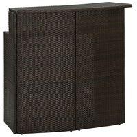 vidaXL Puutarhan baaripöytä ruskea 120x55x110 cm polyrottinki