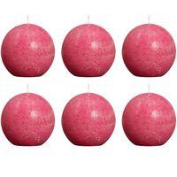 Bolsius Pallokynttilät 6 kpl rustiikkinen 80 mm Fuksianpunainen
