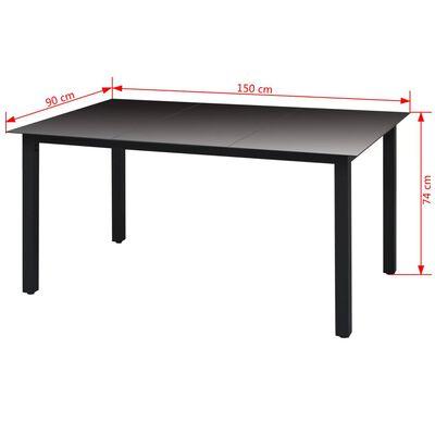 vidaXL Puutarhapöytä musta 150x90x74 cm alumiini ja lasi