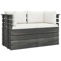 vidaXL Garden 2-Seater Pallet Sofa with Cushions Solid Pinewood (2x315419+2x315066)