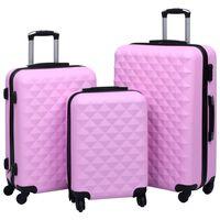 vidaXL Kovapintainen matkalaukkusetti 3 kpl pinkki ABS
