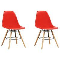 vidaXL Ruokapöydän tuolit 2 kpl punainen muovi