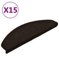 vidaXL Itsekiinnittyvät porrasmatot 15 kpl tummanruskea 65x21x4 cm