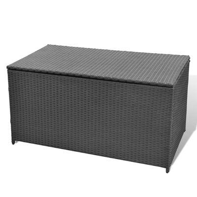 vidaXL Puutarhan säilytyslaatikko musta 120 x 50 x 60 cm polyrottinki