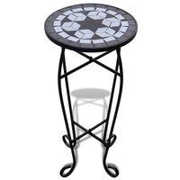 vidaXL Sivupöytä/kasviteline mosaiikkikuvio musta ja valkoinen