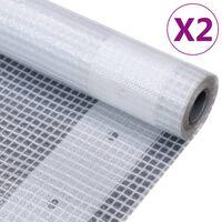 vidaXL Leno suojapeite 2 kpl 260 g/m² 4x15 m valkoinen