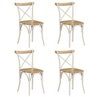 vidaXL Ristiselkäiset tuolit 4 kpl valkoinen mangopuu