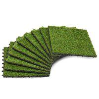 vidaXL Tekonurmilaatat 10 kpl 30x30 cm vihreä