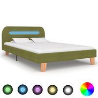 vidaXL Sängynrunko LED-valolla vihreä kangas 120x190 cm