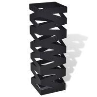 Musta Neliö Sateenvarjoteline Teräs 48,5 cm