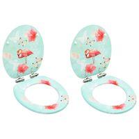 vidaXL WC-istuimet soft close -kansilla 2 kpl MDF flamingokuosi