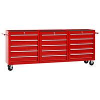 vidaXL Työkalukärry 15 laatikolla teräs punainen