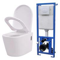vidaXL WC piilotetulla vesisäiliöllä Keraaminen Valkoinen