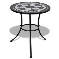 vidaXL Bistropöytä musta ja valkoinen 60 cm mosaiikki