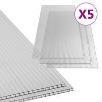 vidaXL Polykarbonaattilevyt 5 kpl 4,5 mm 150x65 cm