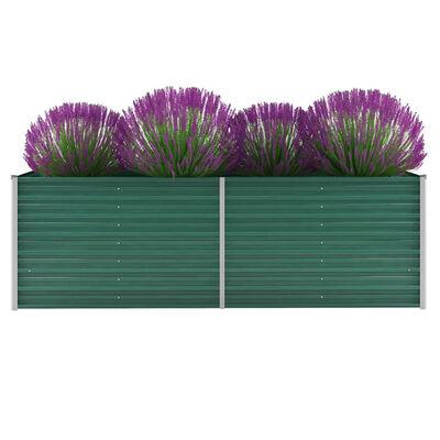 vidaXL Korotettu kukkalaatikko galvanoitu teräs 240x80x77 cm vihreä