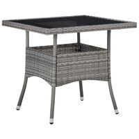 vidaXL Ulkoruokapöytä harmaa polyrottinki ja lasi
