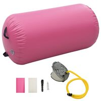 vidaXL Täytettävä voimistelurulla pumpulla 120x90 cm PVC pinkki