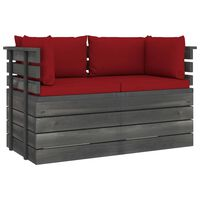 vidaXL Garden 2-Seater Pallet Sofa with Cushions Solid Pinewood (2x315419+2x315073)