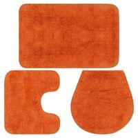 vidaXL Kylpyhuoneen mattosarja 3 osaa kangas oranssi