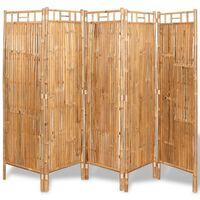 vidaXL Tilanjakaja 5 paneelia bambu 200x160 cm