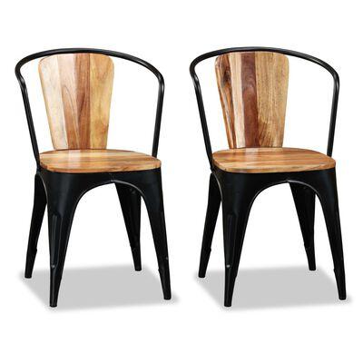 vidaXL Ruokapöydän tuolit 2 kpl kiinteä akaasiapuu