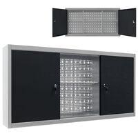 vidaXL Seinäkaappi työkaluille metalli harmaa ja musta