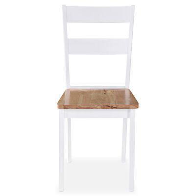 vidaXL Ruokapöydän tuolit 2 kpl valkoinen täysi kumipuu