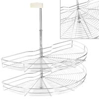 vidaXL 2-kerroksinen keittiön ritilähylly 180° hopea 85x44x80 cm