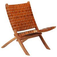 vidaXL Kokoontaittuva nojatuoli ristiinpunottu ruskea aito nahka