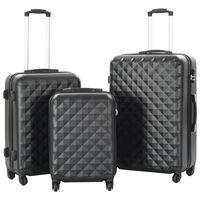 vidaXL Kovapintainen matkalaukkusetti 3 kpl musta ABS