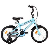 """vidaXL Lasten pyörä 14"""" musta ja sininen"""