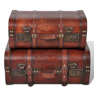 vidaXL Puinen aarrearkku 2 kpl vintage ruskea