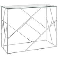 vidaXL Sivupöytä hopea 90x40x75 cm ruostumaton teräs ja lasi