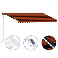 vidaXL Sisäänkelattava markiisi tuulisensori/LED 450x300 cm orans/rusk