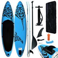 vidaXL Täytettävä SUP-lautasarja 366x76x15 cm sininen