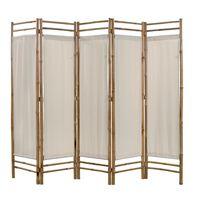 vidaXL Kokoontaitettava huoneenjakaja 5 paneelia bambu ja kangas 200cm