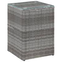 vidaXL Sivupöytä lasipöytälevy harmaa 35x35x52 cm polyrottinki