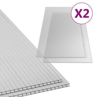 vidaXL Polykarbonaattilevyt 2 kpl 4,5 mm 150x65 cm