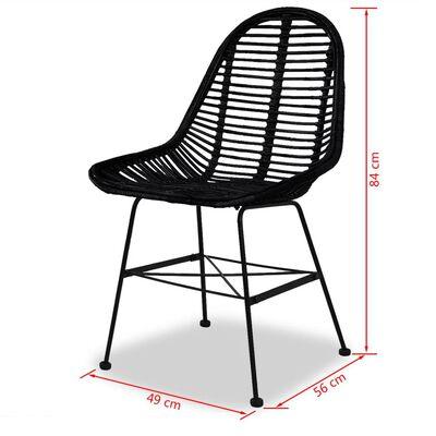 vidaXL Ruokapöydän tuolit 2 kpl musta luonnollinen rottinki